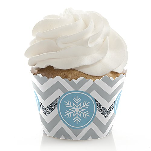 Winter Wonderland - Snowflake Holiday Party & Winter Wedding Decorations - Party Cupcake Wrappers - Set of 12 (Cakes Wonderland Wedding Winter)
