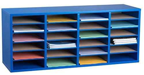 AdirOffice Wood Adjustable Literature Organizer (24 Compartment, - Organizer Blue