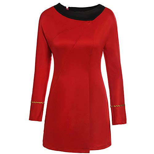 Classic Star Trek Dress Costume Adult Duty Women Uniform (Medium, Red)]()