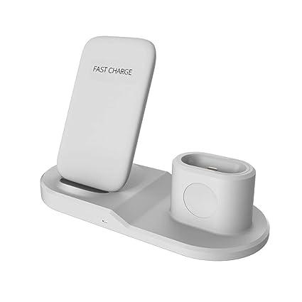 Maliyaw Soporte Cargador inalámbrico 3 en 1 para iPhone Airpods de Apple Watch - Estación de Carga rápida Qi inalámbrica para Samsung S9 / S9 ...