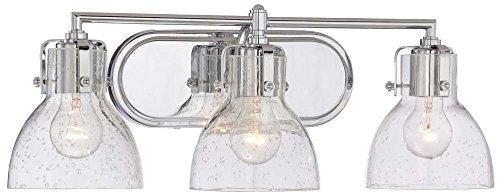 (Minka Lavery Wall Light Fixtures 5723-77 Transitional Bath Glass Bath Vanity Lighting, 3 Light, Chrome)