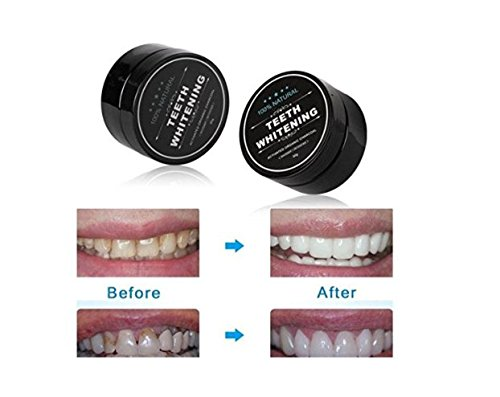 2 Pack - 100% Natural Teeth Whitening Charcoal Powder - with Organic Coconut Activated Charcoal for Stronger Healthy Whiter Teeth. No need for Strips, Kits or Gel