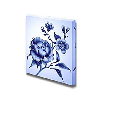 Canvas Prints Wall Art - Blue Branch with Peony Rose and Sakura Flowers | Modern Wall Decor/Home Art Gallery Wraps Giclee Print & Wood Framed. Ready to Hang - 12