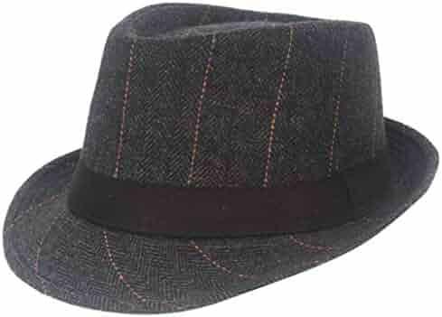 302d5edbc2d9ff Classic Trilby Fedora Straw Hat Cap, Iuhan Black Grey Herringbone Newsboy  Baker Boy Tweed Flat