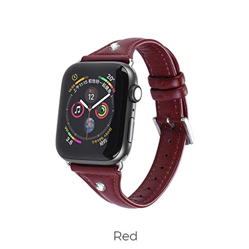 - Sodoop Watchband Compatible for Apple Watch Series 4/3/2/1 38MM,40MM, Slim Soft Ultra-Thin Solid Genuine Leather Band Strap Watchband with Metal Buckle for iWatch Series 4/3/2/1