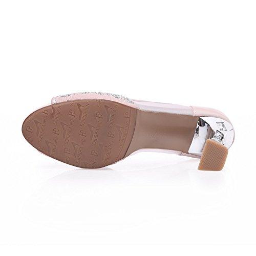 AmoonyFashion Womens Soft Material Pull-on Peep-Toe High-Heels Solid Sandals Pink RqX7oE3ezE