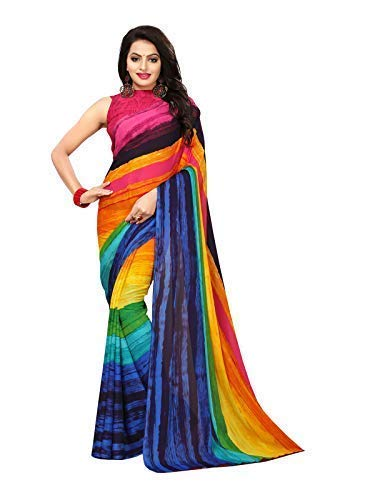 KANCHNAR Women's Georgette Printed Saree with Unstitched Blouse Piece (789S54, Multicolour) ()