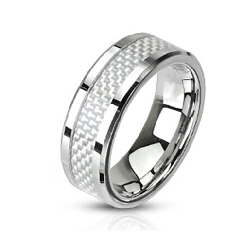 Paula & Fritz Stainless Steel Ring Surgical Steel 316L 6mm wide white band in carbon fiber - Size = 47 (15.0) - [R-M2314-5] ()