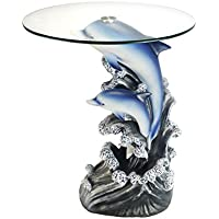 OK Lighting OK-0721N Animal Sculpture End Table 24 H Glass Top Color Sculpture End Table - Dolphin