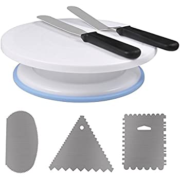 Ejoyous Aluminium Alloy Cake Decorating Turntable,11 Inch Revolving Cake Stand with Decorating Sets, Scraper Combs (3pcs),2 Icing Spatula (Scraper Cutters)