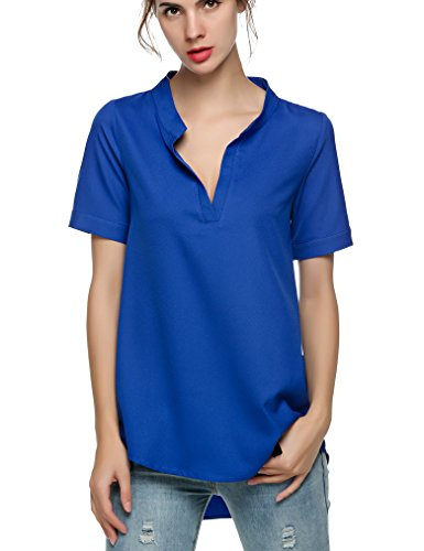 [OURS Women Solid V Neck Loose Fitting Chiffon Blouse Top (XXL, Blue)] (Blouse Fitting)