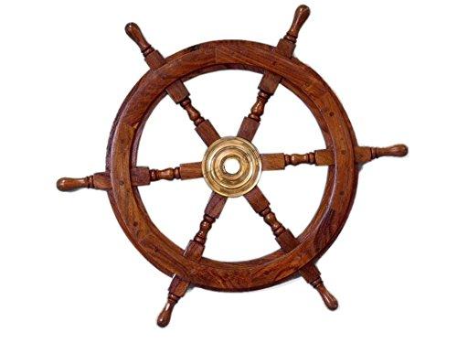 Hampton Nautical Deluxe Class Wood and Brass Decorative Ship Wheel 24