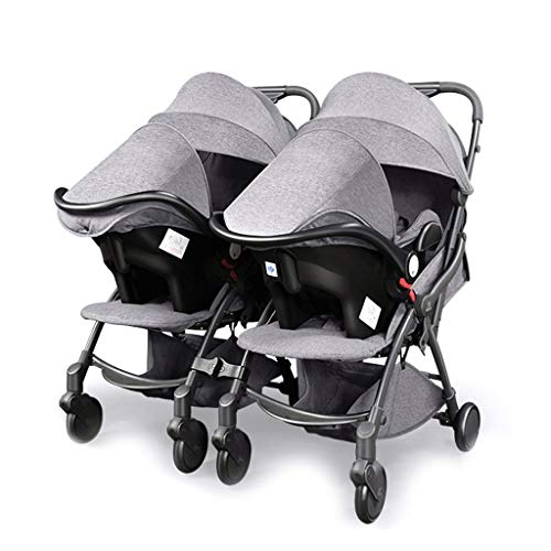 Double Stroller, Twin Tandem Stroller with Adjustable Backrest, Footrest, Foldable Design for Easy Transportation Can Be Split Into Two Separate Strollers