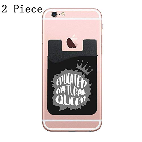 CardlyPhCardH Cell Phone Wallet, Stick on Wallet for Credit Card, Business Card and Id, Works with Almost Every Phone, Smartphones,Educated Natural Queen Grey - 2 Piece