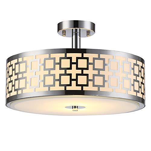 SOTTAE Luxurious Chrome Finish 2 Lights Glass Diffuser Living Room Bedroom Ceiling Light,Modern Ceiling Lamp Fixture(Diameter:15.74
