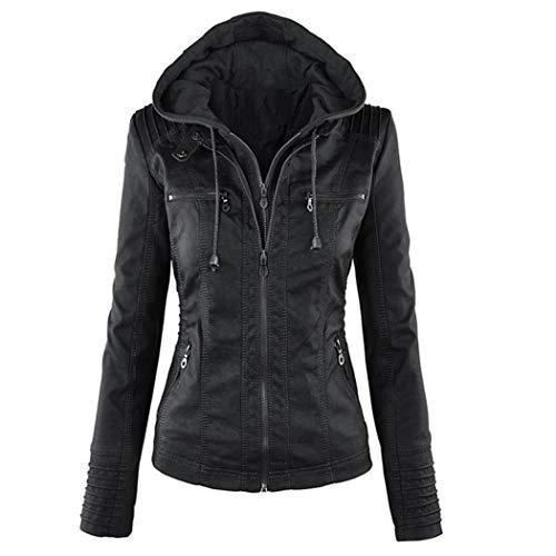 Diaper Women Casual Hooded Long Sleeve Double Zip Jacket Coat Outwear Leather Black