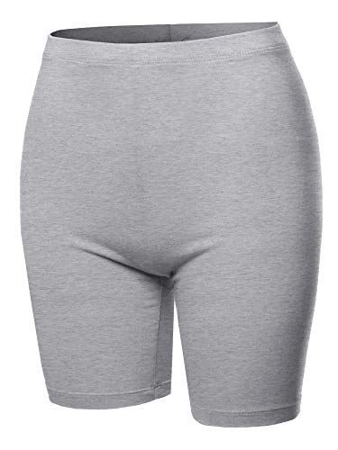 A2Y Basic Solid Cotton Mid Thigh High Rise Biker Bermuda Shorts Heather Grey 1XL