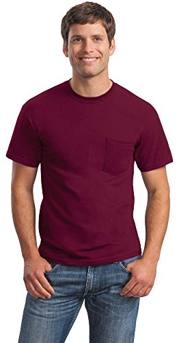Gildan Mens Ultra Cotton 100% Cotton T-Shirt with Pocket, 3XL, Maroon