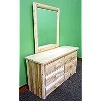 Midwest Log Furniture - Premium Log Dresser with Mirror - 6 Drawer