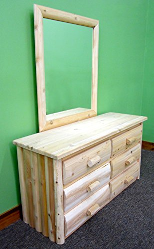 Midwest Log Furniture - Premium Log Dresser with Mirror - 6 Drawer