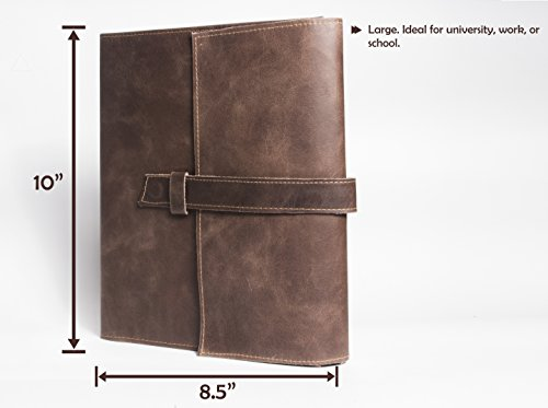 Leather Journal, Large Refillable Notebook, Lined/Ruled Pages to write in, Rustic Handmade Brown Leather Cover – Ideal Gift for family. 10 X 8.5 X 1.5