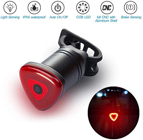 Freshday Ultra Bright Cycling Taillight,Smart Bike Bicycle Rear Light with USB Charging Intelligent Brake Induction LED Bicycle Lights,IPX 6 Waterproof,Auto on Off,Safety and Easy to Install