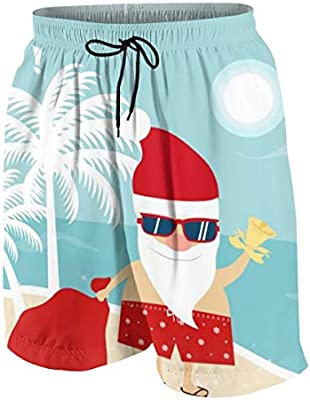 AW Mens Lightweight Quick Dry Beach Shorts Christmas Santa Claus in Beach Swim Trunks