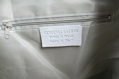 Borsa da donna a sacco spalla e tracolla in pelle camoscio FG Made in Italy blu scuro
