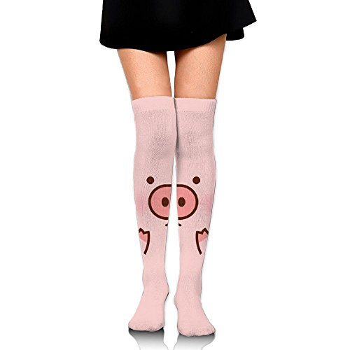 Ksipop Long Socks Pink Pippy Cute Pig Knee-High Tube Thigh-High Sock Stockings For Girls & Womens