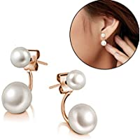 Jaywine2 New Fashion Lady 925 Silver Plated Freshwater Pearl Ear Stud Dangle Earrings