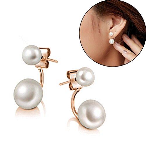 New Fashion Lady 925 Silvering Freshwater Pearl Ear Stud Dangle Earrings