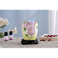 PROW 600ml Spray Color Decoration Peony Flowers Ultrasonic Mute Aroma Ceramics Humidifier with Timer Shutdown Function Essential Oil Air Diffuser Perfect Home Bedroom Gift (Purple)