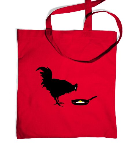 Banksy Chicken And The Egg Tote Bag - Classic Red One Size Tote Bag (Chicken Egg Bag)