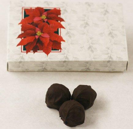 Scott's Cakes Dark Chocolate Covered Raspberry Fruit Truffles in a 1 Pound Poinsettia Box