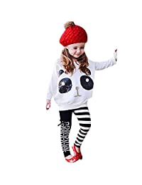 Theshy Toddler Kids Girls Panda Sequins Tops T-Shirt+Striped Bow Pants Clothes
