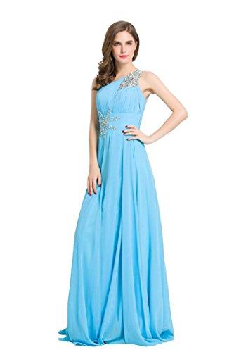 BeautyEmily Frauen ein Schulter Rhinestone langes Abendkleid Chiffon ...