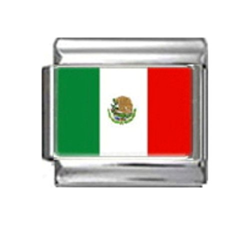 - Stylysh Charms MEXICO MEXICAN FLAG Photo Italian 9mm Link PC116
