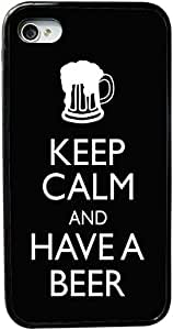 Rikki KnightTM Keep Calm and Have a Beer Black Design Design iPhone 5 & 5s Case Cover (Black Rubber with bumper protection) for Apple iPhone 5 & 5s