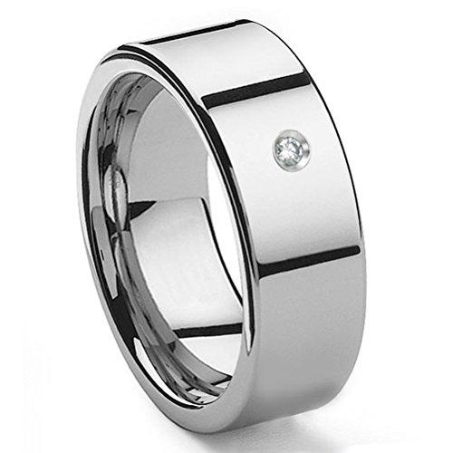 - Tungsten Carbide Diamond 10MM Flat Wedding Band Ring Sz 9.5
