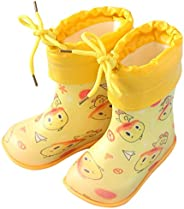 Kids Rain Boots Rubber Boots Cartoon Prints Waterproof Shoes Removable Cotton Liner Boots