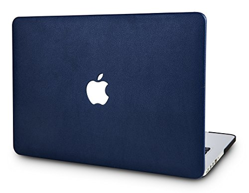 KEC MacBook Air 13 Inch Leather Case Cover Folio Italian Pebble Leather A1369 / A1466 (Navy Blue Leather)