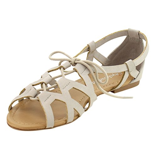 CityClassified Lace Sandal Caged Flat IE16 Grey Beach Womens Up Strappy rT7UrZP