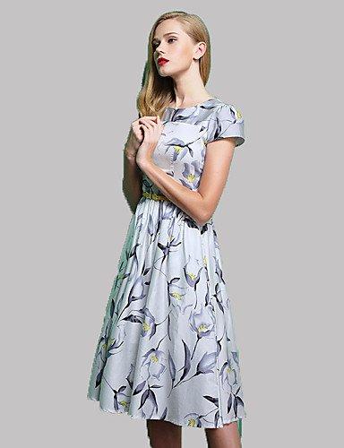 PU&PU Robe Aux femmes Trapèze Simple,Imprimé Col Arrondi Midi Polyester , white-2xl , white-2xl