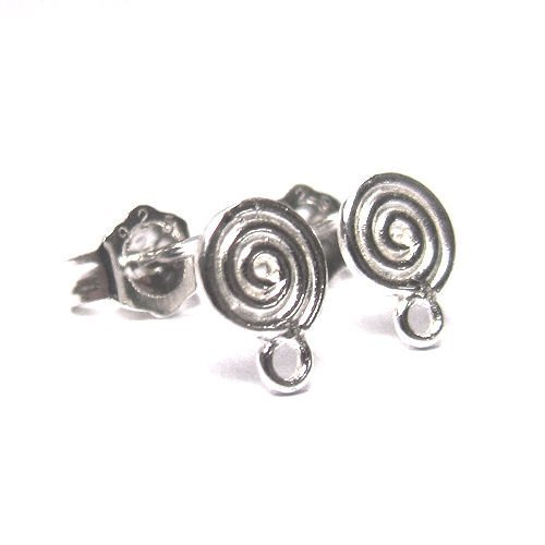 2 pairs/4 pcs .925 Sterling Silver Round Whirl Earring Connector Loop Post 7mm -