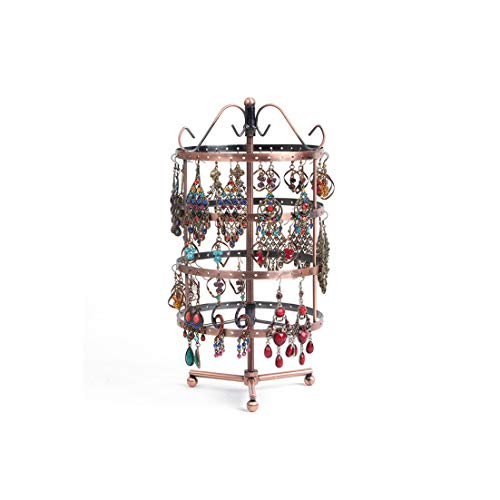 144 Holes Round Revolving Jewelry Display Rack for Earring Holder Black Metal Necklace Organizer Stand,Brown,S092