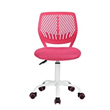 Homy Casa Armless Swivel Desk Chair Kids Study Chair with PU Colorful Wheels (PINK#)