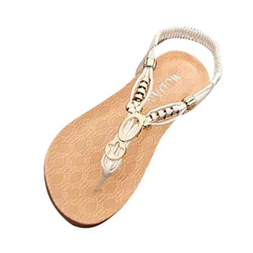 YOUJIA Women Beach Sandals Gladiator Elastic Bandages Flats Thongs White #1 ZqDIKui