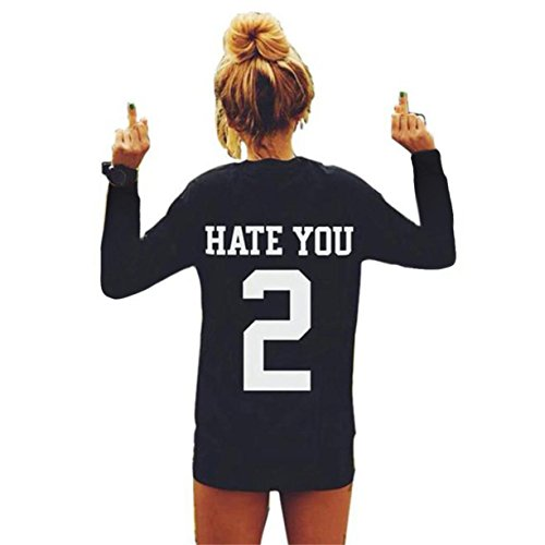 Fineshow Women Casual Black Letter Print Long Sleeve T-shirt HATE YOU Loose Tee (XL)
