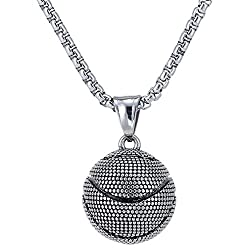 Liyali Fashion Basketball Pendant Necklace Stainless Steel Necklace Sports Necklace Silver G