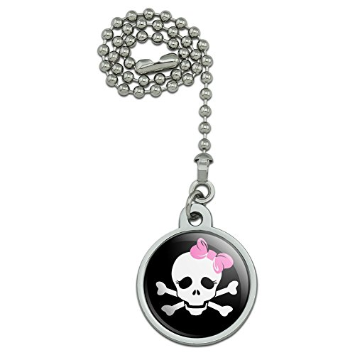 Skulls Crossbones Daughter Stick Figure Family Girl Pink Bow Ceiling Fan and Light Pull Chain